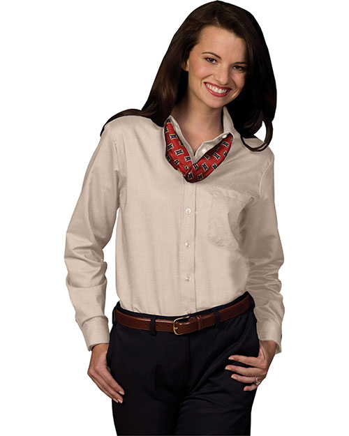 Edwards 5077 Women Long Sleeve Dress Button Down Oxford Tan at bigntallapparel
