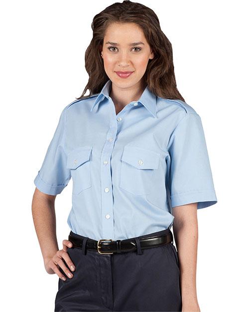 Edwards 5212 Women Short Sleeve Navigator Shirt blue at bigntallapparel