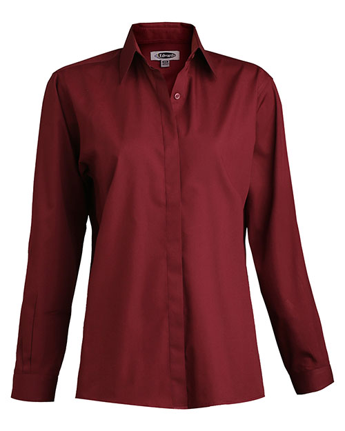 Edwards 5290 Women Long Sleeve Cafe Shirt Burgundy at bigntallapparel