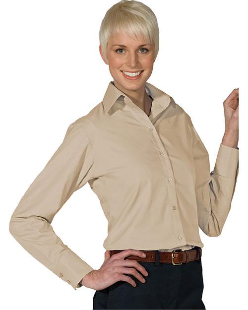 Edwards 5295 Women Open Neck Poplin Long Sleeve Blouse Tan at bigntallapparel