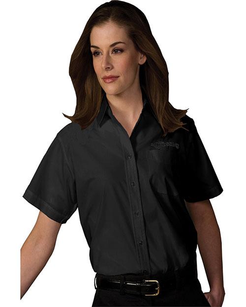 Edwards 5313 Women Short Sleeve Value Broadcloth Shirt Black at bigntallapparel