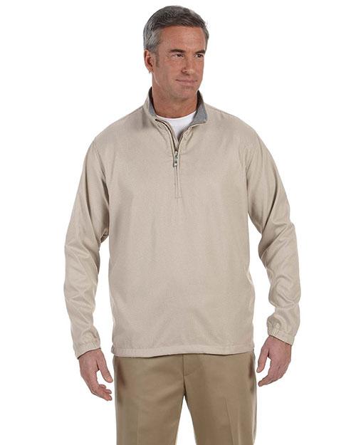 Ashworth 5330 Men Houndstooth Half-Zip Jacket Khaki at bigntallapparel