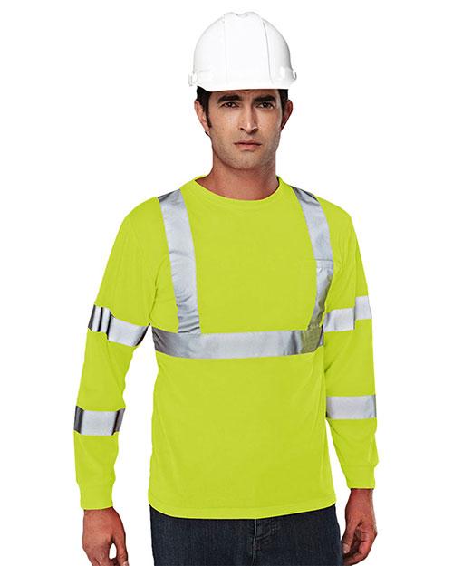 Tri-Mountain 533 Men 100% Polyester Safety Ls Crewneck Lime Green at bigntallapparel