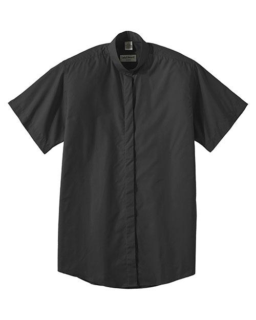 Edwards 5346 Women Short Sleeve Banded Collar Shirt Black at bigntallapparel
