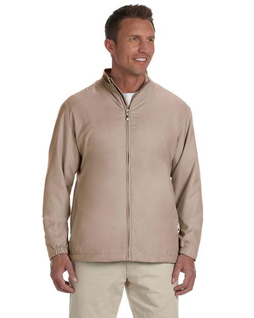 Ashworth 5378 Men Full-Zip Lined Wind Jacket Stone at bigntallapparel