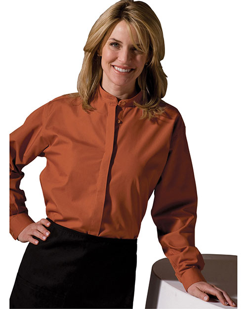 Edwards 5396 Women Long Sleeve Banded Collar Shirt Clay at bigntallapparel