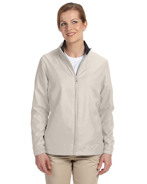 Ashworth 5401C Women Full-Zip Lined Wind Jacket Stone at bigntallapparel