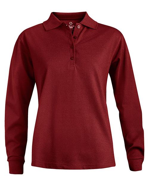Edwards 5515 Women Long Sleeve Pique Polo(No Pocket) Burgundy at bigntallapparel