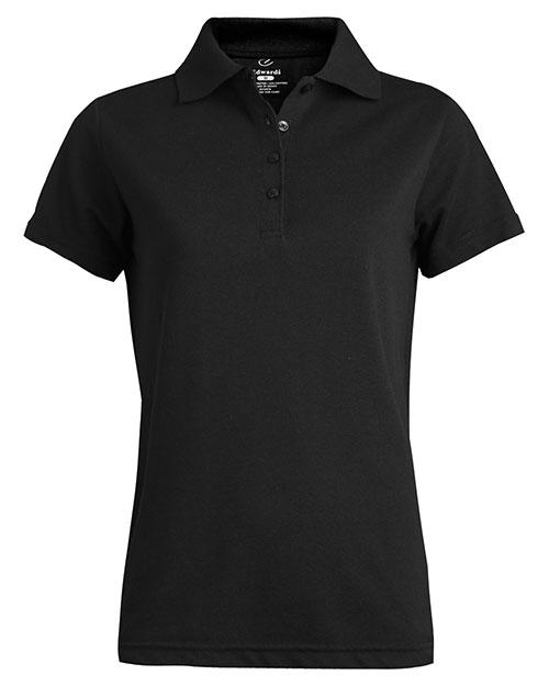 Edwards 5530 Women Soft Touch All Cotton Pique Polo Black at bigntallapparel