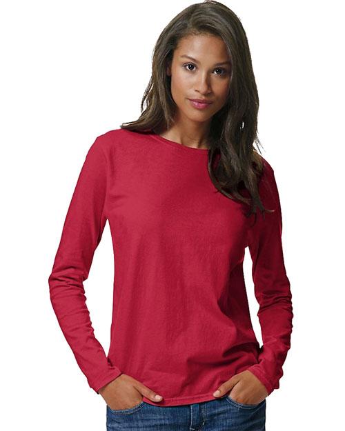 Hanes 5580 Women Comfortsoft Long Sleeve T-Shirt Deep Red at bigntallapparel