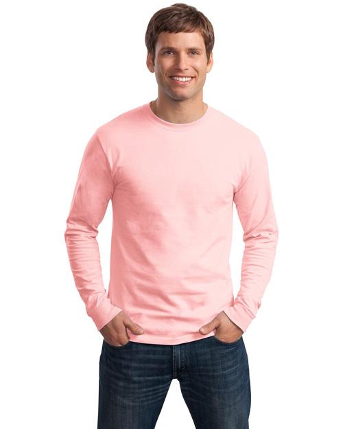 Hanes 5586 Men Tagless 100% Comfortsoft Cotton Long Sleeve T Shirt Pale Pink at bigntallapparel