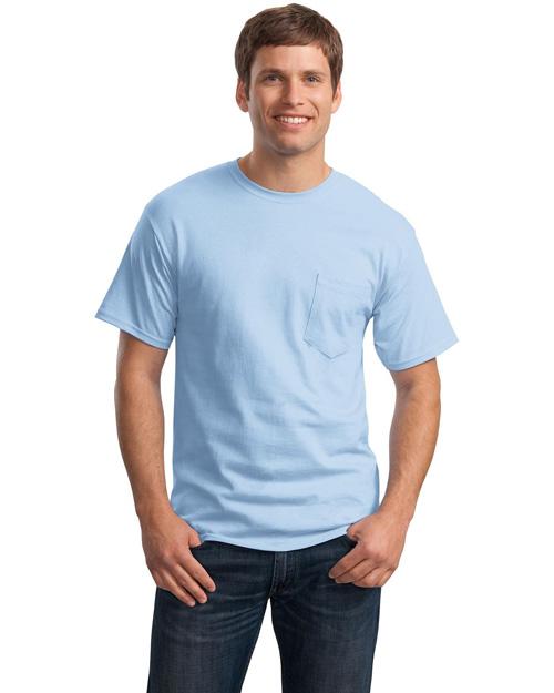 Hanes 5590 Men Tagless 100% Comfortsoft Cotton T Shirt With Pocket Light Blue at bigntallapparel
