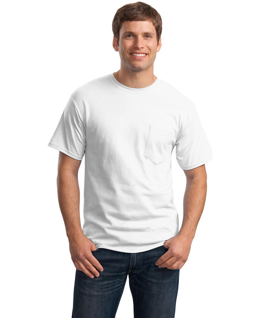 Hanes 5590 Men Tagless 100% Comfortsoft Cotton T Shirt With Pocket White at bigntallapparel