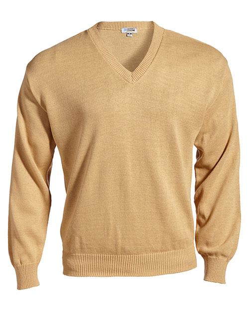 Edwards 565 Men V-Neck Sweater With Tuff-Pil Plus Khaki at bigntallapparel