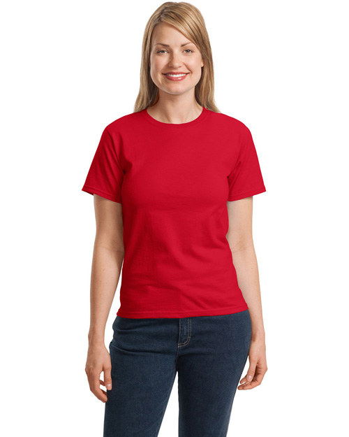 Hanes 5680 Women Comfortsoft Crewneck T-Shirt Deep Red at bigntallapparel