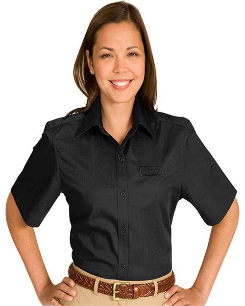 Edwards 5740 Women Cottonplus Short Sleeve Twill Shirt Black at bigntallapparel