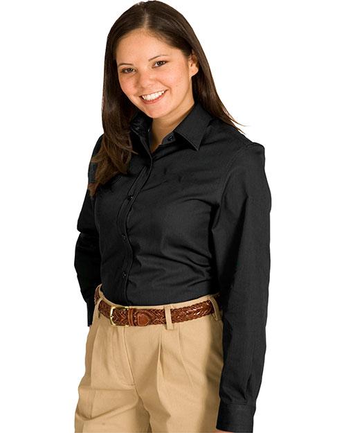 Edwards 5750 Women Cottonplus Long Sleeve Twill Shirt Black at bigntallapparel