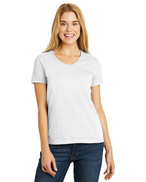 Hanes 5780 Women Comfortsoft V-Neck T-Shirt White at bigntallapparel