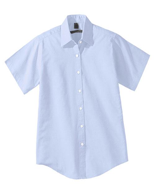 Edwards 5925 Women Short Sleeve Pinpoin Oxford Shirt blue at bigntallapparel