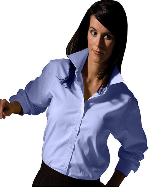 Edwards 5975 Women Long Sleeve Pinpoint Oxford Shirt blue at bigntallapparel
