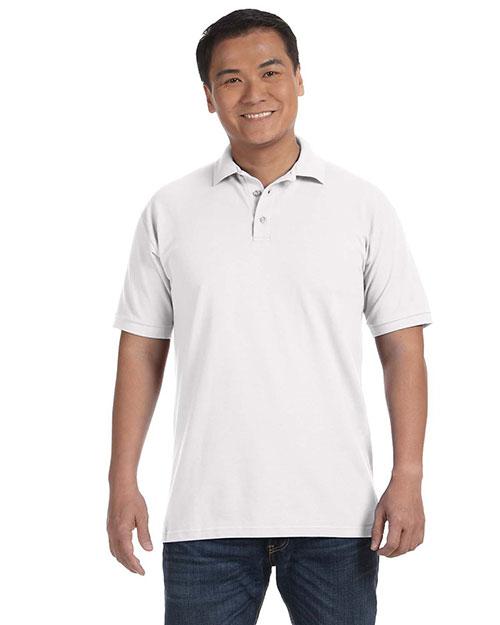 Anvil 6020 Men 6.5 Oz. Pique Sport Shirt White at bigntallapparel