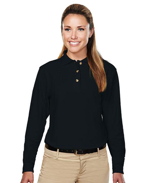 Tri-Mountain 602 Women 60/40 Pique Long Sleeve Golf Shirt Black at bigntallapparel