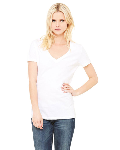 Bella 6035U Women Made In The Usa Jersey Short-Sleeve Deep V-Neck T-Shirt White at bigntallapparel