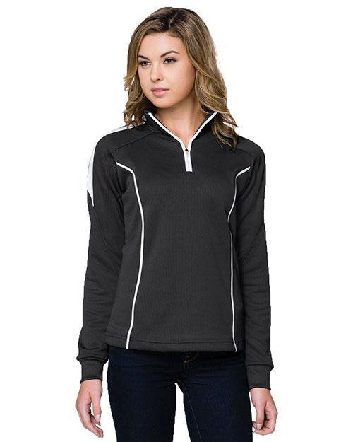 Tri-Mountain 603 Women 100% Polyester Mesh Textured 1/4 Zipper Pullover Black/White at bigntallapparel