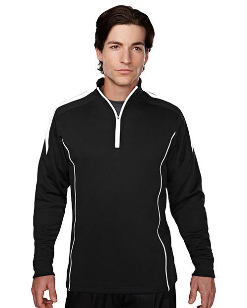 Tri-Mountain 605 Men 100% Polyester Mesh Textured 1/4 Zipper Pullover Black/White at bigntallapparel