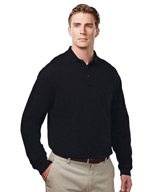 Tri-Mountain 614 Men Cotton/Poly 60/40 Knit Ls Polo Shirt, W/ Mic Loops & Pen Pocket Black at bigntallapparel