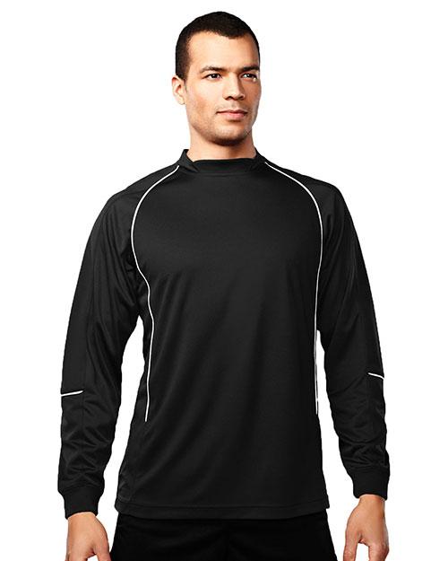 Tri-Mountain 623 Men 100% Polyester Ls Knit Crewneck Black/White at bigntallapparel