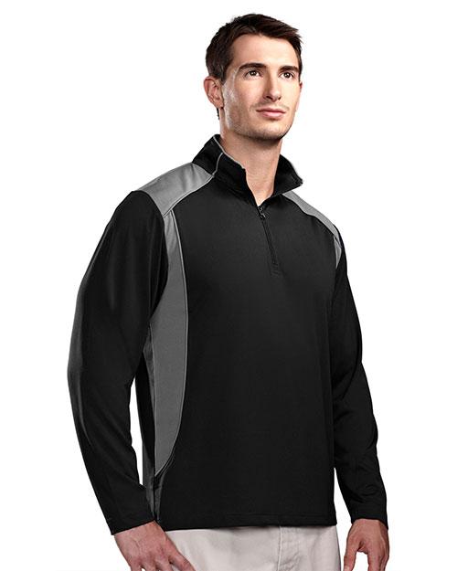 Tri-Mountain 624 Men Diversion Poly Ultracool 1/4 Zip Pullover Shirt Black/Gray at bigntallapparel