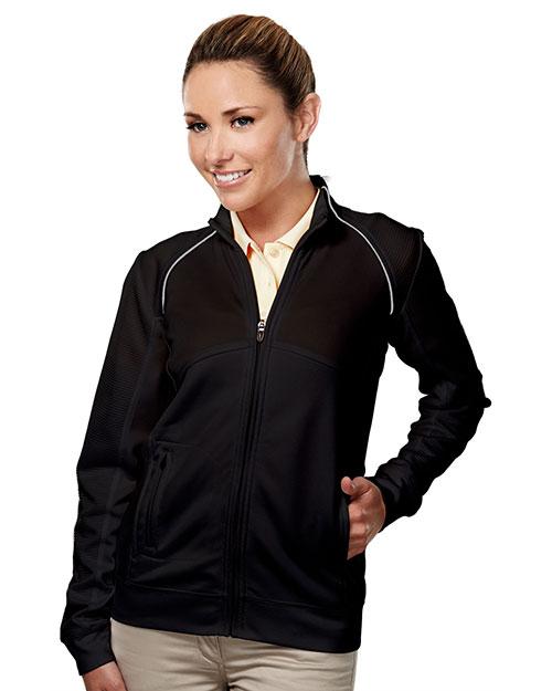 Tri-Mountain 625 Women 100% Polyester Full Zip Ls Knit Shirt Black/Gray at bigntallapparel