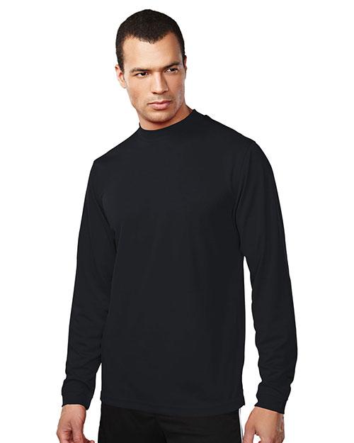 Tri-Mountain 626 Men 100% Polyester Ls Knit Mock Neck Shirt, W/ Self Cuff Black at bigntallapparel