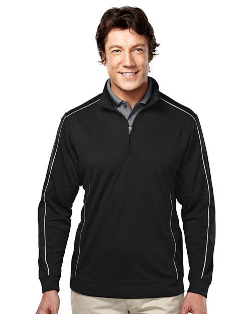 Tri-Mountain 627 Men 100% Polyester 1/4 Zip Ls Knit Shirt Black/Gray at bigntallapparel