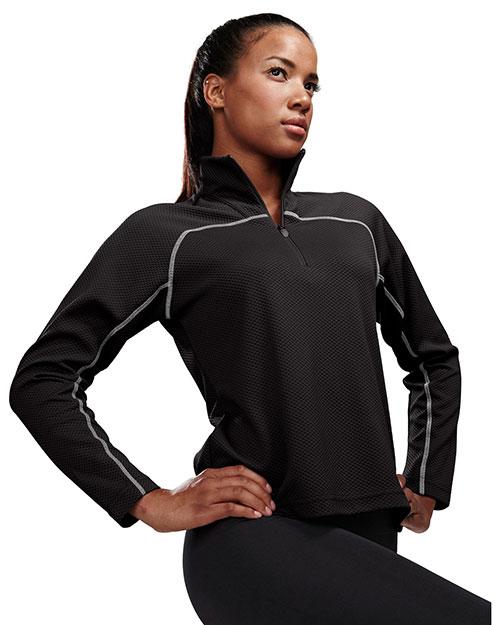 Tri-Mountain 636 Women 100% Polyester Jaquard Uc 1/4 Zip Ls Knit Pullover Shirt Black/Gray at bigntallapparel