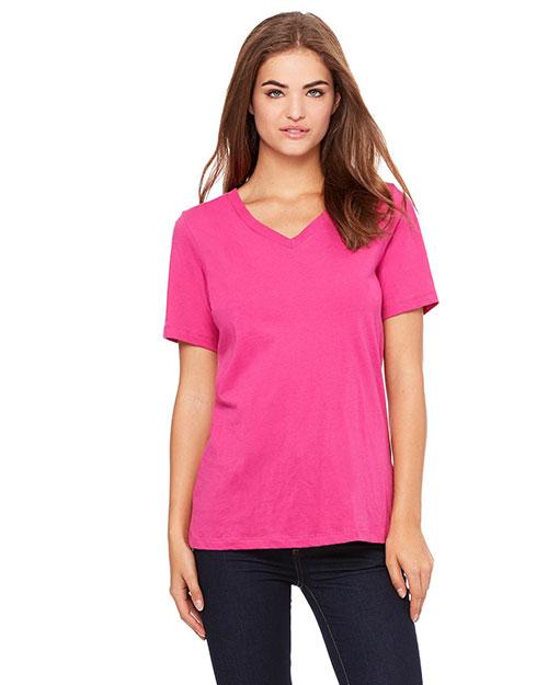 Bella 6405 Women Missy Jersey Short-Sleeve V-Neck T-Shirt Berry at bigntallapparel
