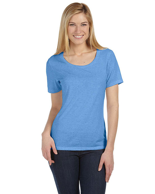 Bella 6406 Women Missy Jersey Short-Sleeve Scoop Neck T-Shirt Blue Triblend at bigntallapparel