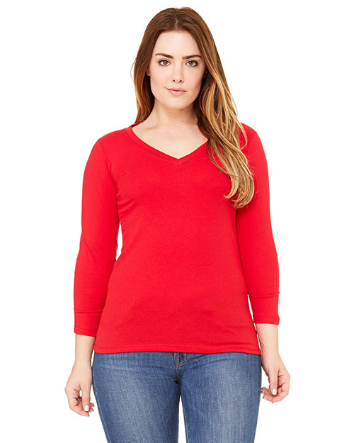 Bella 6425 Women Missy Jersey 3/4-Sleeve V-Neck T-Shirt Red at bigntallapparel
