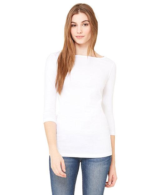Bella 6515 Women Jersey Half-Sleeve Boatneck T-Shirt White at bigntallapparel