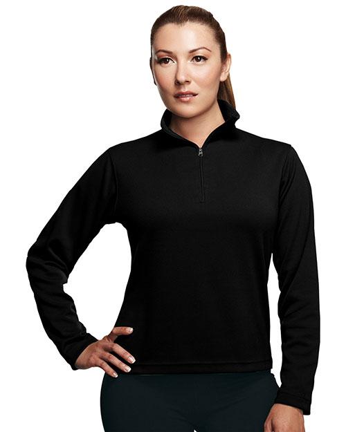 Tri-Mountain 652 Women Poly Ultracool Pique 1/4 Zip Pullover Shirt Black at bigntallapparel