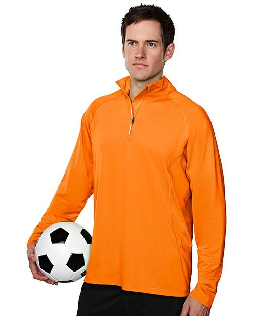 Tri-Mountain 659 Men 88% Polyester 12% Spandex Knit Quarter Zipper Jogging Pullover Autumn Orange at bigntallapparel