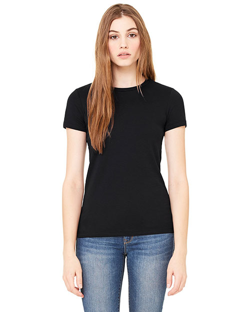 Bella 6650 Women Poly-Cotton Short-Sleeve T-Shirt Black at bigntallapparel