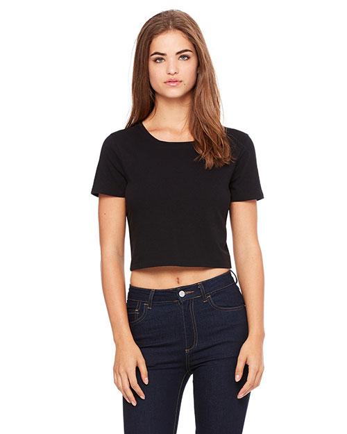 Bella 6681 Women Poly-Cotton Crop T-Shirt Black at bigntallapparel