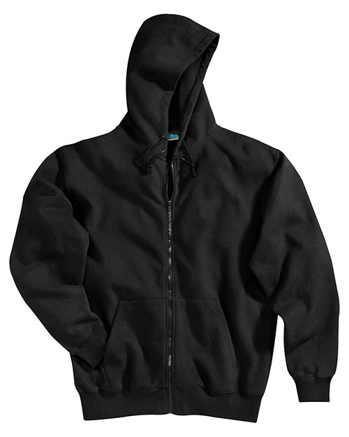 Tri-Mountain 690 Men Cotton/Poly Sueded Finish Hooded Full Zip Sweatshirt Black at bigntallapparel