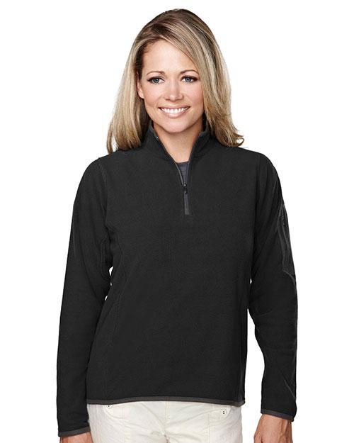 Tri-Mountain 7046 Women 100% Polyester Fleece 1/4 Zipper Pullover Black/Charcoal at bigntallapparel