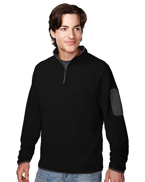 Tri-Mountain 7048 Men 100% Polyester Fleece 1/4 Zipper Pullover Black/Charcoal at bigntallapparel