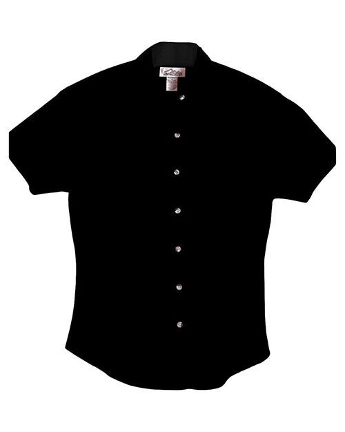 Tri-Mountain 711 Women 60/40 Easy Care Short Sleeve Twill Shirt Black at bigntallapparel