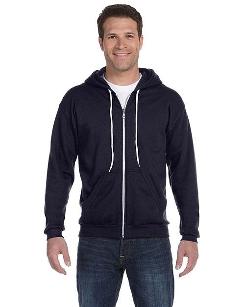 Anvil 71600 Men Ringspun Full-Zip Hooded Sweatshirt Navy at bigntallapparel