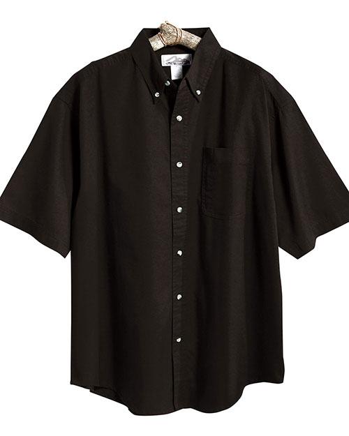 Tri-Mountain 718 Men Easy Care Short Sleeve Twill Dress Shirt Black at bigntallapparel